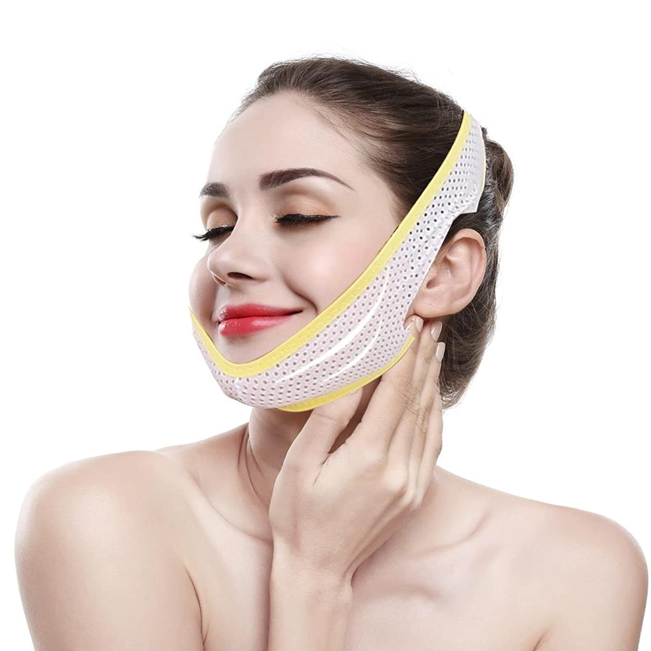 式活力レーニン主義顎リフト フェイススリミング包帯 フェイスベルト 顔の包帯スリミングダブルチンVラインとフェイシャルケアファーミングスキン 女性の超薄型 フェイスマス クラインベルト スリミング製品マスク(M)