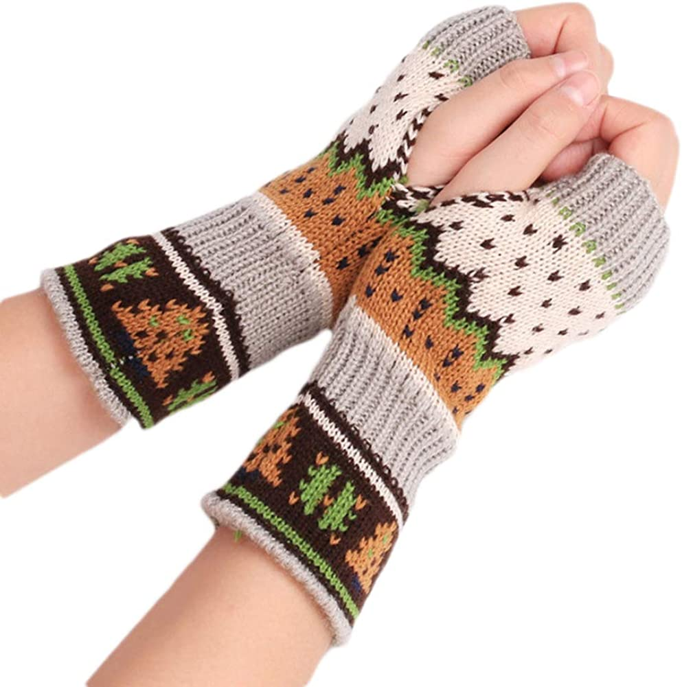 Tennessee526 Unisex Winter Warm Gloves Colorful Women Fingerless Knitted Gloves Warm Long Mitten Wrist Warmer Xmas Gift
