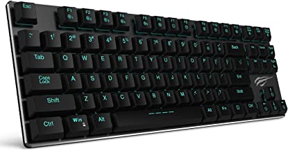 Mechanical Keyboard HAVIT Backlit Wired Gaming Keyboard Extra-Thin & Light, Kailh Latest Low Profile Blue Switches, 87 Keys N-Key Rollover (Black)