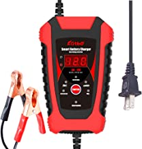 KATBO 6 Amp Battery Charger 6V 12V Lead Acid Battery Float Charger Maintainer For Motorcycle Car Boat Marine Lawn mower Atv Toy Car (Red)
