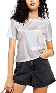 Wudodo Shiny Tops for Women Metallic Party Holographic Shimmer Glitter Short Sleeves Loose Sparkle Shirt Hip Pop Disco T-Shirt