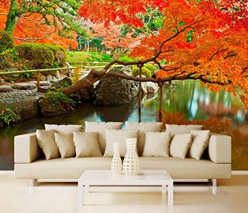 Vlies XXL-poster fotobehang natuur & bloemen Japanse tuin 300 x 220 cm 3-tlg. wit