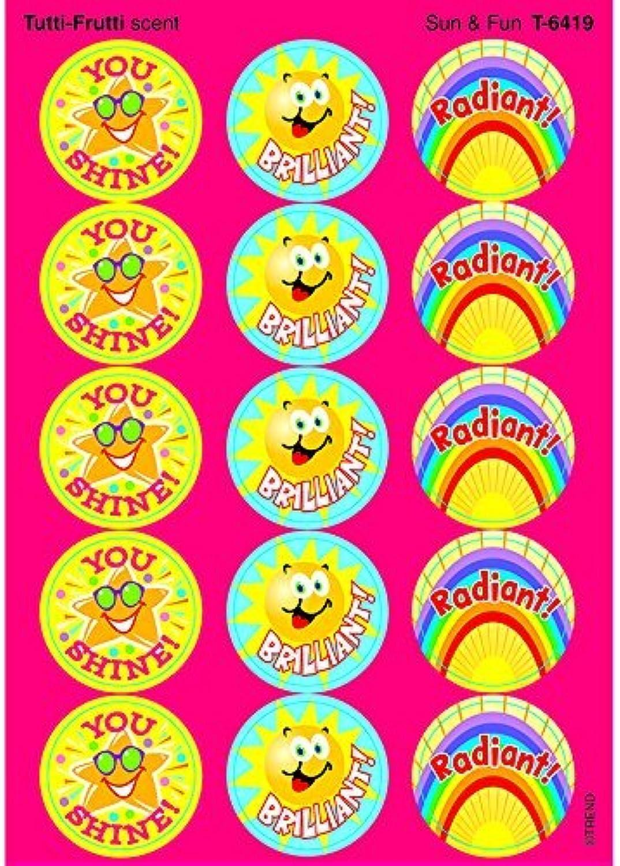 60 x Sun & Fun Scratch 'n Sniff Stickers (Tutti-Frutti Scented) by TREND ENTERPRISES INC.