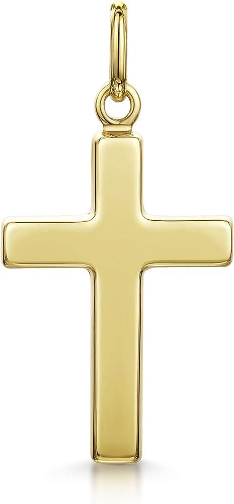 Amberta,ciondolo a forma di croce unisex, in oro giallo 9kt/375(0,97 gr) G9K-YEL-PEN-CROS-003