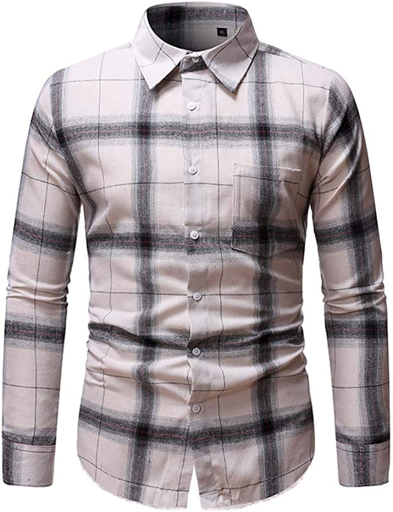 YD-zx Mens Spring Chic Lattice Printed Long Sleeve Stand Collar Casual Button Down Shirts Ethnic Style Collar Shirt Slim Fit