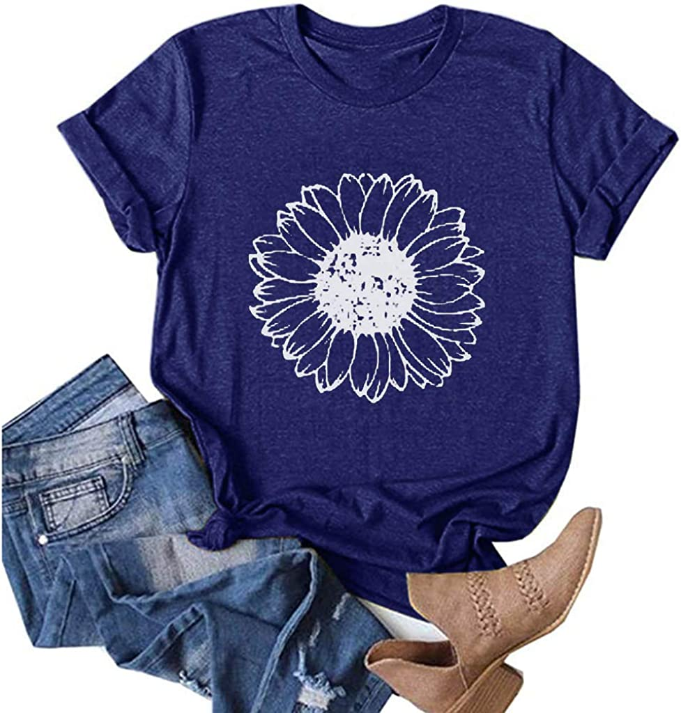 AODONG T-Shirts for Women, Women's Summer Tops Casual Funny Graphic Floral Printing T-Shirts Blouses Tunic Tees