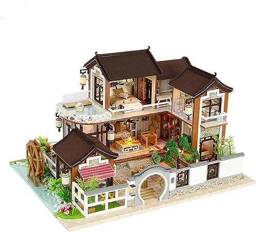Puppenhaus Miniatur DIY House Kit Holzspielzeug Puppenzimmer Duplex-Stil Startseite Modell Kunstwerk mit LED-Licht (Traum zurück in die antike Stadt)