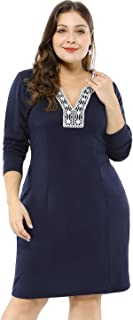 Women's Plus Size Embroidered V Neck Peasant Long Sleeve Sheath Dress