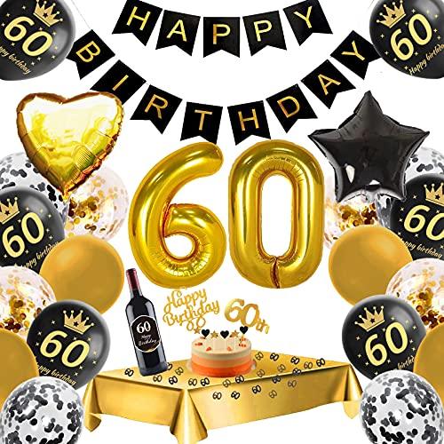 Luftballon 60. Geburtstag Deko Schwarz Gold,57 Stück Geburtstagsdeko 60, Konfetti Luftballons,Riesen Folienballon Zahl 60,Happy Birthday Banner,Geburtstagsdeko 60. Jahre für Mann Frau