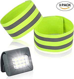 RODH Running Lights Safety Reflective Band High Visibility Gear Armband for Walking Jogging Runners Super Bright Very Large Adjustable Rechargeable Strong Magnetic Clip