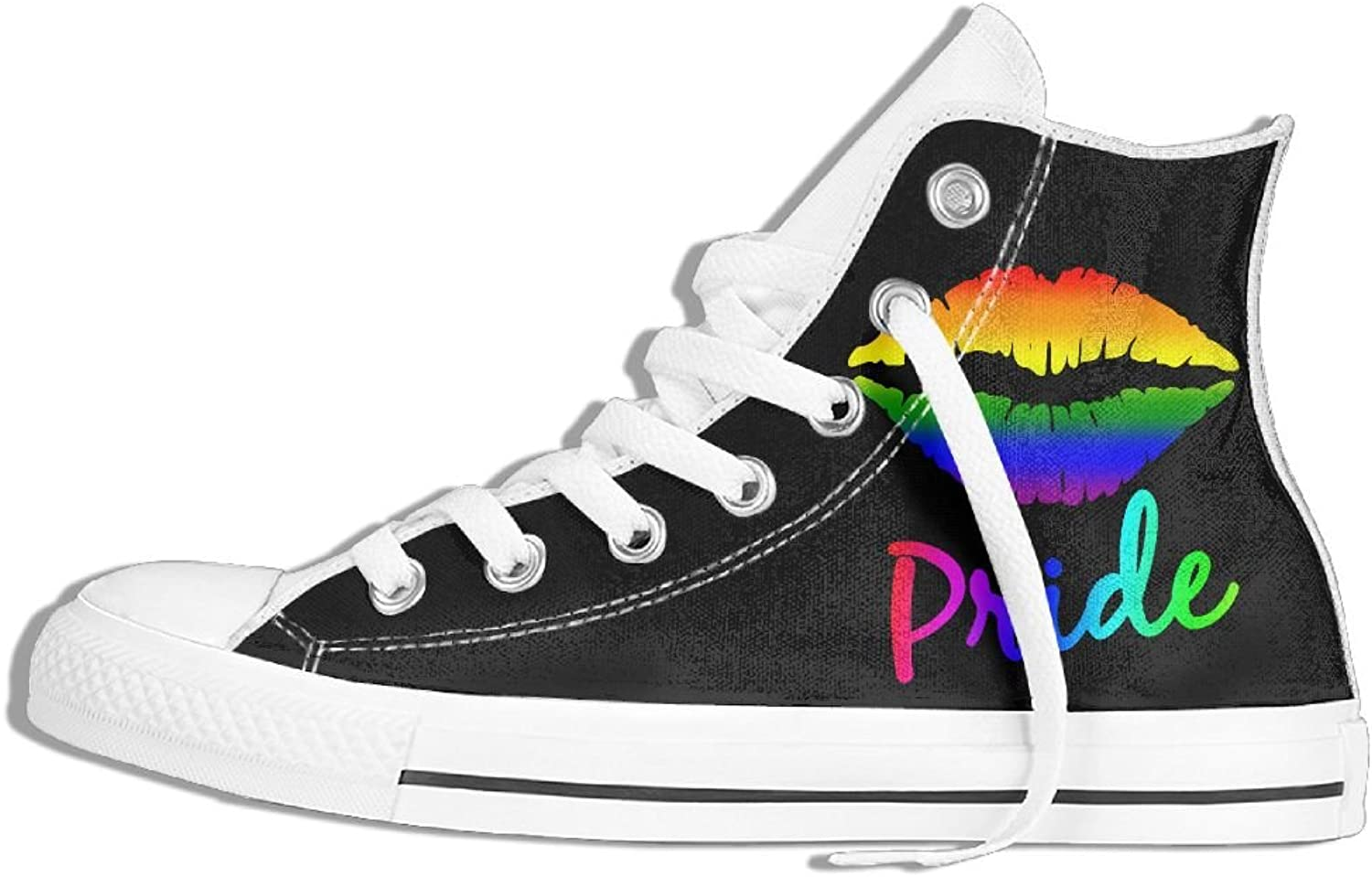 Unisex High Top Sneakers LGBT Rainbow Lips Pride Classic Canvas shoes Breathable Sneaker