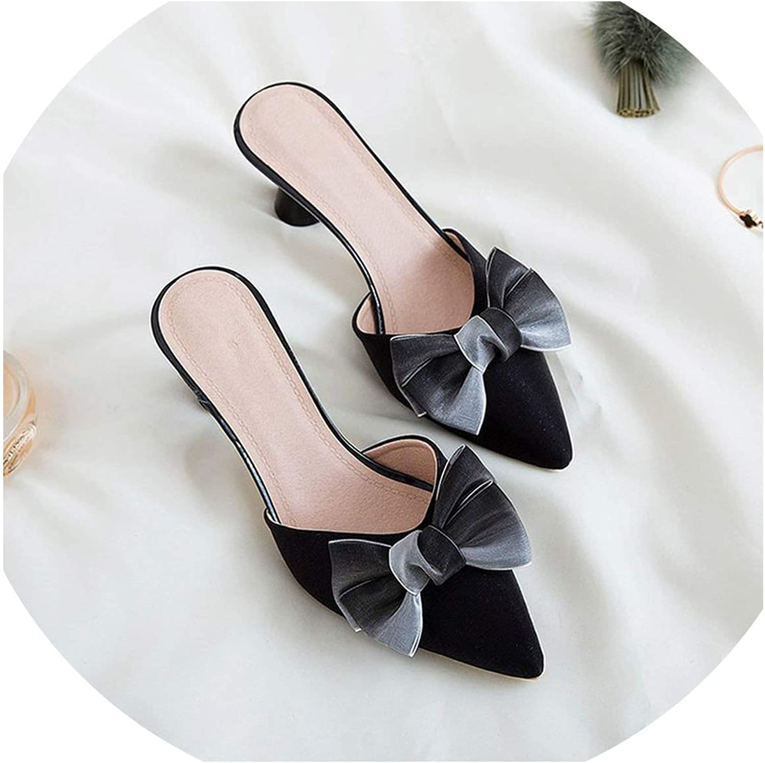 Betterluse Summer Slippers High Heel Velvet Bow Pointed Toe Two-Piece Strange Pearl Heel Stiletto Party shoes