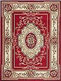 Simbad F744A - Alfombra clásica para salón, clásica y moderna floral persa (Red, 160 x 220 cm)