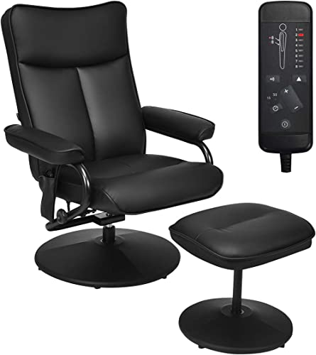 new arrival Giantex 2021 Electric Massage Recliner Chair with online Ottoman, Faux Leather Swivel Recliner Remote Control, 8 Vibration Modes & 4 Massage Motors, Overstuffed Padded Seat Chairs (Black) online sale