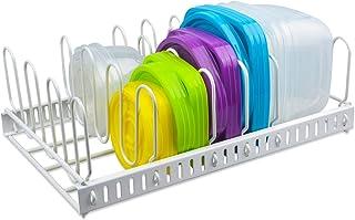 Organizador de Tapa de Contenedor de Alimentos de Color Blanco y Soporte de Tapa de Metal Ajustable para 6 Divisores Orga...