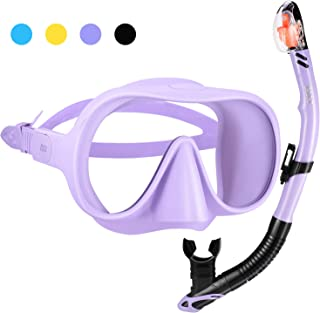 ZMZ DIVE Snorkel Set, Anti-Fog Tempered Glass Adult Snorkel Mask, Anti Leak Dry Top Snorkel Panoramic Silicone Goggle for Snorkeling& Scuba Diving, Professional Frameless& Full Silicone Mask