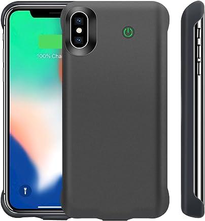 iPhone X / Xs Funda Batería, 6000mAh Battery Case Batería Portátil Carcasa Protección para Apple iPhone X y Xs, Grande Capacidad y Apoyo Lightning Auriculares, Color Negro