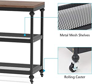 Tribesigns 3-Tier Console Table, 47 Inch Industrial Hallway Entryway Table with Mesh Storage Shelves, Sofa Table TV Stand Media Console for Living Room, Rustic Brown