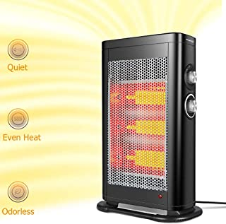 GEEK HEAT Infrared Convection Heater,1000W/1500W Electric Space Heater for Room Indoor Portable Safe Tower Radiant Quartz Heater with Adjustable Thermostat Control, Tip-Over, Overheat Protection
