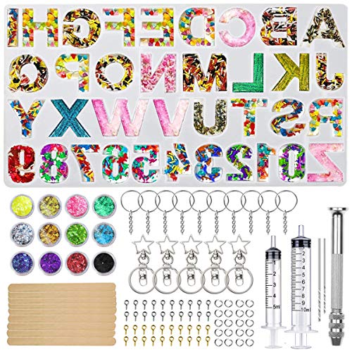 Alphabet Resin Silicone Mold, Gdaya Letter & Number Keychain Silicone Casting Molds for Epoxy with Glitter Sequins,Hand Drill and Other Accessories for Making Keychain,Jewelry,Pendant,Resin Crafts