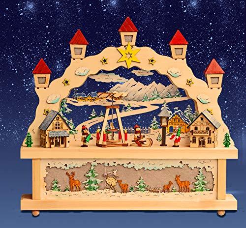 HGS XL Schwibbogen mit LED Lichterbogen Winterkinder mit Pyramide mit Podest inkl Trafo Weihnachten Advent