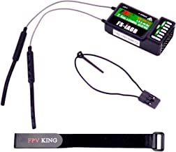 FPVKing Flysky FS-iA6B Receiver 6-Channel 2.4G 6CH i-BUS PPM Receiver with Antenna Compatible FS-i4 FS-i6 FS-i10 FS-GT2E FS-GT2G with 250mm Lipo Battery Strap