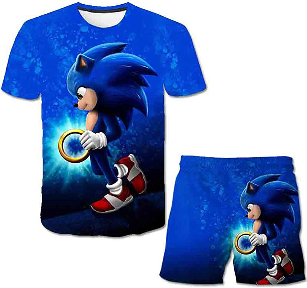 LING Sonic The Hedgehog Boys and Girls, Short Sleeves and Shorts, Three-Way 3D Printed Summer T-Shirts