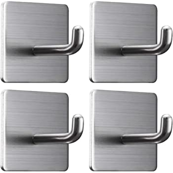 Adhesive Hooks Round 5 Pack Self Adhesive Hooks Heavy Duty Adhesive Hooks KoHuiJoo Removable Adhesive Wall Hooks Stainless Steel Hooks for Hanging Home Office Towel Kitchen Bathroom and Bags