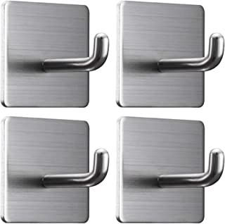 Jekoo Strong Adhesive Hooks, Heavy Duty Wall Hooks Towel Hooks for Hanging Waterproof Stick on Bathroom Kitchen Home Office 304 Stainless Steel - 4 Packs