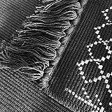 Ukeler Dekorativer geometrischer Kelim-Teppich, Baumwolle, bedruckt, moderner handgewebter Flickenteppich mit Quasten, langlebig, für Küche, Waschküche, Schlafzimmer, 60 x 130 cm, abstraktes Schwarz - 4