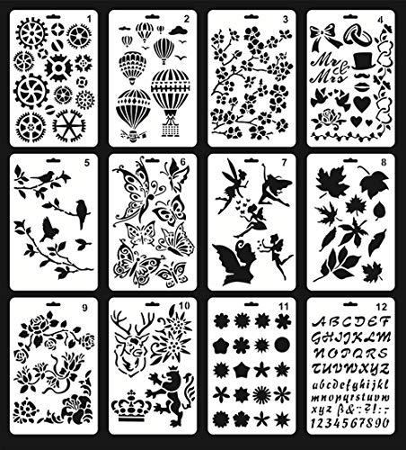 Kunststoff-Schablonen zum Malen, 12 Stück Tagebuch-Schablonen zum Basteln, 14 x 24 cm