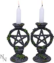 Nemesis Now Wiccan Pentagram Candlesticks Set of Two Candle Holder 15cm Black, Resin