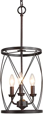ISURAUL Industrial Chandeliers Foyer Pendant Light Hanging Fixture for Dining Room, Adjustable Height, Bronze Finish with Thi