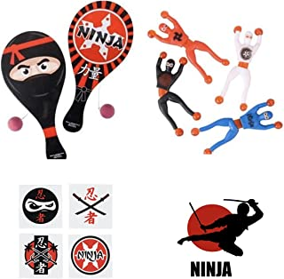 72 Awesome NINJA Birthday Party FAVORS - 12 PADDLEBALL Games - 12 Sticky WALL Crawlers 12 Stickers & 36 TATTOOS - Parties Goodies PRIZES Toys MARTIAL ARTS Judo KARATE