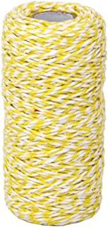 Glass Bottle Gift Box Decor Craft Cotton Bakers Twine String Cord 100M (Yellow+White)