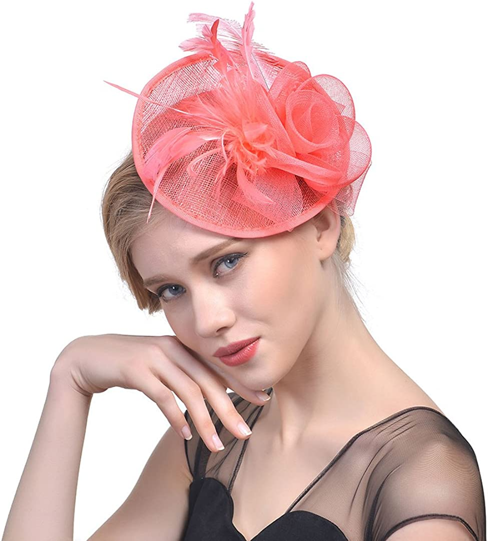 Tortor 1Bacha Flower Feather Sinamay Fascinator Pillbox Cocktail Party Wedding Hat