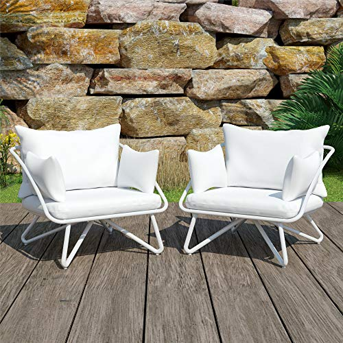 Novogratz 88061WHTE 2 Piece Poolside Teddi Outdoor Lounge Chairs, White