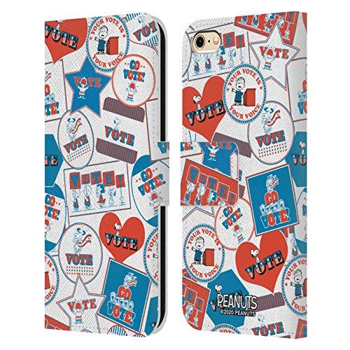 Head Case Designs Oficial Peanuts Patrón no Adhesivo. Tu Voto es tu Voz Carcasa de Cuero Tipo Libro Compatible con Apple iPhone 6 / iPhone 6s