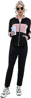 Akalnny Tuta Donna da Ginnastica in Velluto Sportiva 2 Pezzi Giacca con zip + Pantaloni Jogging Invernale Autunno per Pass...