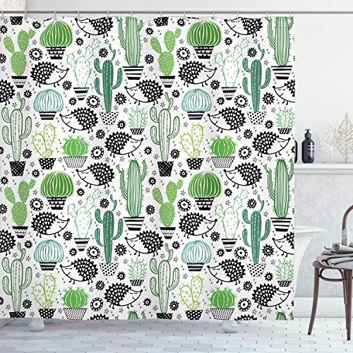 ABAKUHAUS Cactus Cortina de Baño, Erizo de Dibujos Animados del Saguaro, Material Resistente al Agua Durable Estampa Digital, 175 x 200 cm, Multicolor