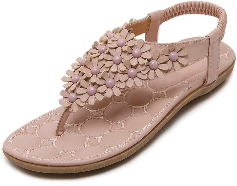 Sandals Women T-Strap Flip Flops Thong Flat Sandals Flowers Gladiator Sandal shoes Summer