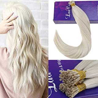 [Hot]LaaVoo 16inch Stick Tips Cold Fusion Pre Bonded Human Hair Extensions Whitest Blonde Not Yellow Blonde I Tips With Italian Glue on Keratin Soft Hair Extensions 1g/strand 50g Per Pack