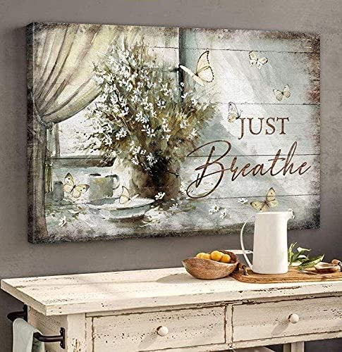 Flowers Canvas At the price of surprise Wall Art Butterfly By Window Breathe safety Just