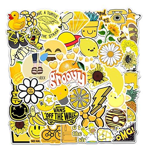 YZFCL Cartoon series yellow small fresh suitcase lever box laptop graffiti sticker waterproof sticker 50pcs