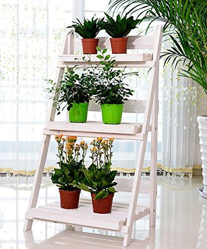 LHPHUAJIA Bois Massif Fleur Racks Extérieur Balcon Living Room Ladder Trois Couches Fold Flower Pot Rack Vert Et Blanc (Couleur : B, Taille : 46 * 92cm)