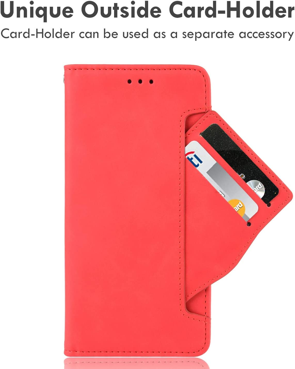 10 Cent Galaxy Z Fold 3 5G Case, Galaxy Z Fold 3 Wallet case, Classic Leather Wallet Foldable Case with Credit Card Holder Slots Flip Wallet Case for Samsung Galaxy ZFold3 5G(Red)
