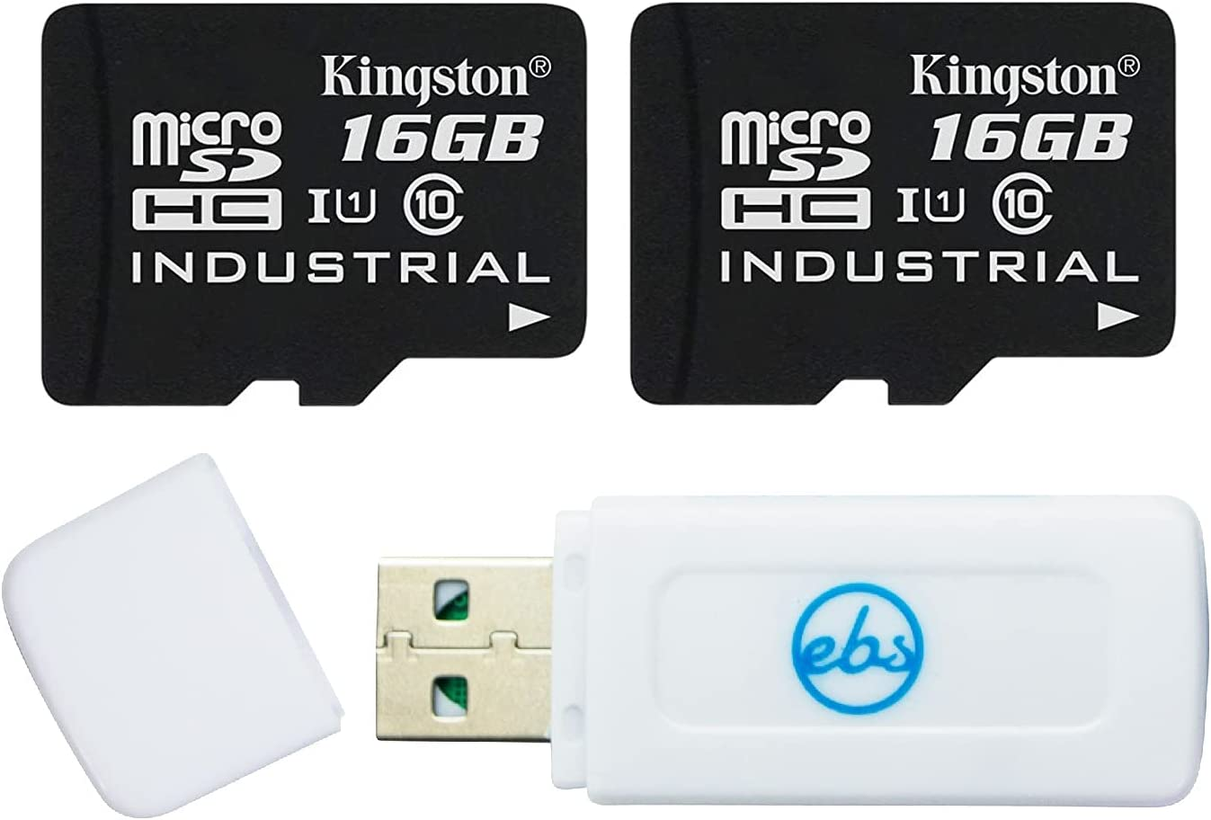 Kingston 16GB MicroSD Industrial Grade Card (2 Pack) with Adapter Class 10 U1 (SDCIT/16GB) Bundle with 1 Everything But Stromboli Memory Card Reader