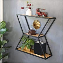 GuoWei Hexagon Wall-mounted Shelf Metal Frame with Wood Board Storage Display, 2 Sizes (Color : A, Size : 60x24x60cm)