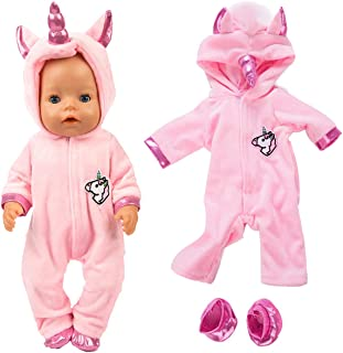 ebuddy 2pc/Set Unicorn Costume Jumpsuit Doll Clothes with Shoes for 43 cm New Born Baby Dolls/ 15 inch Dolls, Pink