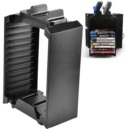 Soporte de almacenamiento para PS4, soporte de consola vertical Bewinner para PS4 Storage Tower Fan Game Disk Rack Holder para PS4 SLIM PRO Xbox One